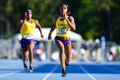 Sha'Carri Richardson in action in the 100m (LSU Athletics / Brandon Gallego)
