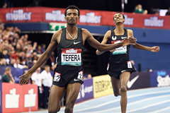 Samuel Tefera wins the 1500m at the IAAF World Indoor Tour meeting in Birmingham (Mark Shearman)