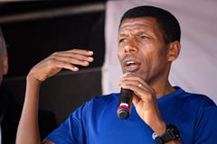 Haile Gebrselassie addressing participants at the inaugural WHO 'Walk the Talk: Health for All Challenge in Geneva (Bob Ramsak)
