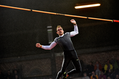 Renaud Lavillenie in the pole vault at the IAAF Diamond League meeting in Stockholm (Hasse Sjogren)