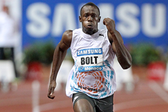 Usain Bolt in action at the IAAF Diamond League meeting in Monaco (AFP / Getty Images)