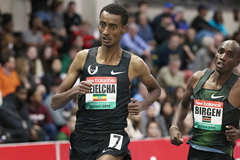 Yomif Kejelcha on his way to winning the mile at the IAAF World Indoor Tour meeting in Boston (Victah Sailer)