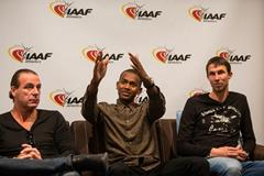 Mutaz Essa Barshim speaks to the press in Monaco (Philippe Fitte / IAAF)