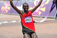 Gold winner Stephen Kiprotich of Uganda after finishing  the Men's Marathon of the London 2012 Olympic Games  on August 12, 2012 (Getty Images)
