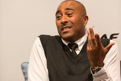 Colin Jackson speaks to the press in Monaco (Philippe Fitte / IAAF)