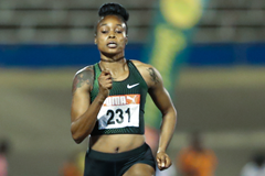 Elaine Thompson en route to her Jamaican 100m title (Athelstan Bellamy)
