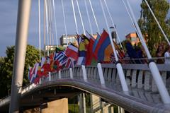 Flags hang on Laukonsilta Bridge in Tampere (Getty Images)