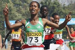Gelete Burka wins the women's short course race at the 2006 IAAF World Cross Country Championships in Fukuoka (Getty Images)