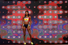 Nafi Thiam enters the arena at the 2017 European Indoor Championships (Getty Images)
