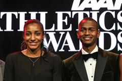 Nafissatou Thiam of Belgium and Mutaz Barshim of Qatar, the 2017 IAAF Athletes of the Year (Philippe Fitte)