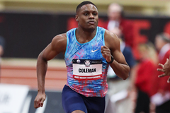 Christian Coleman in the 60m at the US Indoor Championships in Albuquerque (Victah Sailer)