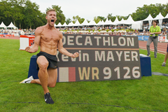 Kevin Mayer celebrates his decathlon world record at the Decastar meeting in Talence (AFP / Getty Images)