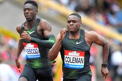 Christian Coleman en route to a narrow 100m win in Birmingham (Jiro Mochizuki)