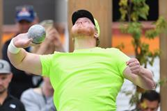 Ryan Crouser winning the Big Shot competition in Christchurch (Getty Images)