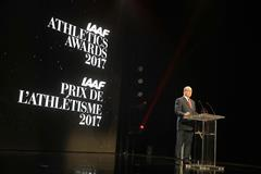 Prince Albert addressing the IAAF World Athletics Awards (Giancarlo Colombo)