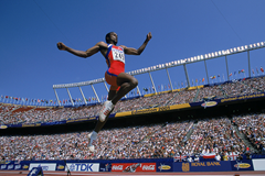 Cuban long jumper Ivan Pedroso in action at the 2001 IAAF World Championships in Edmonton (Getty Images)