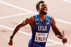 Noah Lyles anchors the USA to the men's 4x100m relay title at the IAAF World Athletics Championships Doha 2019 (Getty Images)