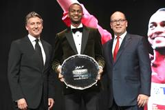 From Left - IAAF President Sebastian Coe, world Athletes of the Year Mutaz Barshim, and Prince Albert (Giancarlo Colombo)