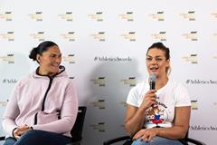 Valerie Adams and Sandra Perkovic meet the press in Monaco (Philippe Fitte)
