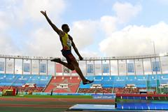 Juan Miguel Echevarria in the long jump at the IAAF Diamond League meeting in Rabat (Kirby Lee)
