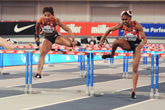 Christina Manning (right) and Sharika Nelvis (left) in the 60m hurdles at the IAAF World Indoor Tour meeting in Glasgow (Mark Shearman)