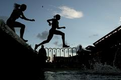 Athletes in action in the steeplechase in Monaco (Getty Images)