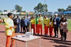 Haile Gebrselassie at the installation of an air quality monitoring device at Addis Ababa stadium (Ethiopian Athletics Federation)
