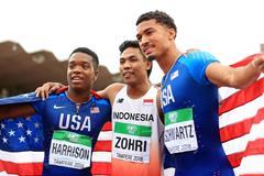 Lalu Muhammad Zohri , Anthony Schwartz and Eric Harrison celebrate (Getty Images)