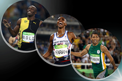 The IAAF World Athlete of the Year 2016 men's finalists: Usain Bolt, Mo Farah, Wayde van Niekerk (Getty Images)