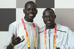 Athlete Refugee Team members Ukuk Utho'o Bul and Paulo Amotun Lokoro in Valencia (Bob Ramsak)