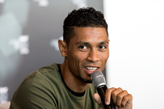 Wayde van Niekerk speaks to the press ahead of the IAAF Athletics Awards 2016 (Philippe Fitte / IAAF)
