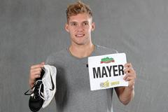 Kevin Mayer with his spikes and bib from the 2018 Decastar meeting in Talence (Giancarlo Colombo)