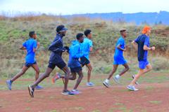 Members of the Alley Runners distance team at a training camp in Ethiopia (Alley Runners South Tel-Aviv)