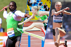 Julius Yego, Sally Pearson and Olga Rypakova in action at the IAAF Diamond League meeting in Birmingham (Mark Shearman / Jean-Pierre Durand)