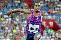 Christian Taylor on his way to a meeting record in the triple jump at the Golden Spike meeting in Ostrava (AFP / Getty Images)