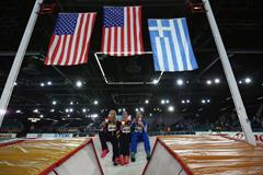 The women's pole vault medallists at the IAAF World Indoor Championships Portland 2016 (Getty Images)