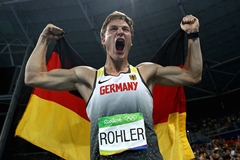 Thomas Rohler celebrates winning Olympic javelin gold ()