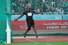 Discus winner Fedrick Dacres at the IAAF Diamond League meeting in Rabat (Matt Quine)