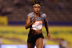 Elaine Thompson on her way to victory in Kingston (AFP / Getty Images)