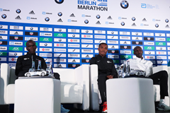 Eliud Kipchoge, Kenenisa Bekele and Wilson Kipsang ahead of the Berlin Marathon (Victah Sailer / organisers)