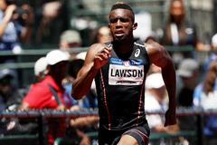 Jarrion Lawson in action in the 100m (Getty Images)