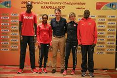 IAAF President Seb Coe with Asbel Kiprop, Faith Kipyegon, Sasha Gollish and Stephen Kiprotich (Roger Sedres for IAAF)