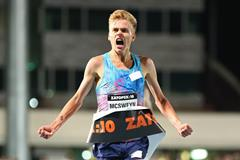 Stewart McSweyn winning the 2017 Zatopek 10 in Melbourne (Getty Images)