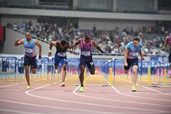 Omar McLeod takes a narrow win in Shanghai (Errol Anderson/Jiro Mochizuki)