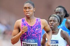 Caster Semenya on her way to winning the 800m at the IAAF Diamond League meeting in Monaco (Jiro Mochizuki)