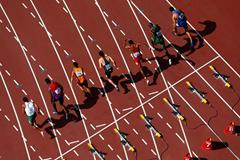 100m runners at the start (Getty Images)
