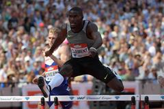 Kerron Clement winning the 400m hurdles at the 2016 IAAF Diamond League meeting in London (Kirby Lee)