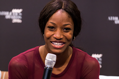 Shaunae Miller speaks to the press ahead of the IAAF Athletics Awards 2016 (Philippe Fitte / IAAF)
