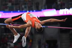 Belarusian high jumper Maksim Nedasekau at The Match in Minsk (Getty Images)