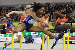 Keni Harrison wins the 60m hurdles at the Indoor Meeting Karlsruhe (Jean-Pierre Durand)